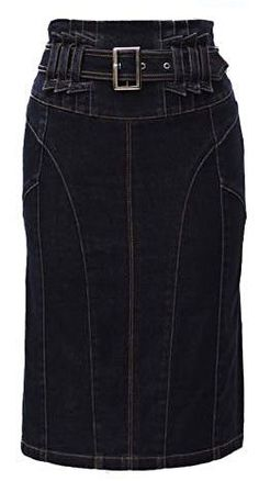 Demin Skirt, Denim Shirt Dress, Blouse And Skirt, Denim Outfit, Skirt Pants, Chic Outfits, Fashion Outfits, Pencil Skirt Outfits, Jeans Rock
