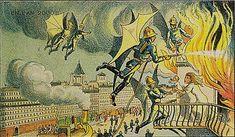 A Biblioteca Nacional da França (FBN) tem uma incrível coleção de impressões feitas em de 1910, que retratam a vida no ano 2000. Eles são assinadas pelo artista Villemard.