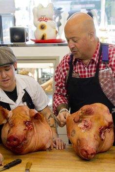 Turning pigs' heads into face bacon at the Lindy & Grundy butcher shop
