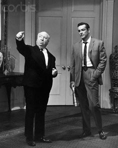Sean Conery & Alfred Hitchcock on the set Marnie (Hitchcock 1964)