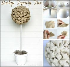 Burlap DIY Ideas - looks like a money tree to me Fun Crafts, Diy And Crafts, Crafts For Kids, Arts And Crafts, Burlap Crafts, Burlap Bows, Alpillera Ideas, Love Craft, Fabric Ribbon