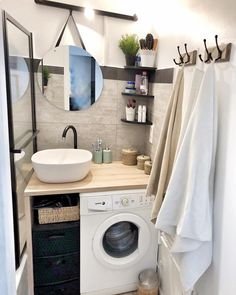 tiny Bathroom Decor Un petit tour dans la salle de - bathroomdecor House Bathroom, Bathroom Interior, Small Bathroom, Laundry In Bathroom, Trendy Home, Bathroom Decor, Bathroom Design Small, Tiny House Bathroom, Small Bathroom Decor