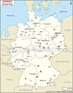 germany map features the mineral boundary and areas