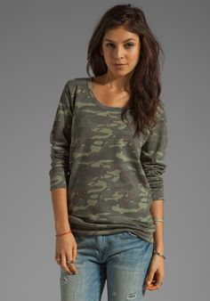 Monrow Camo Print Boyfriend Sweatshirt in Army at Revolve Clothing - Free Shipping!
