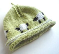 baby hat KNITTING PATTERNS - in the round dpns 4ply - little baa baa - newborn to 5 years