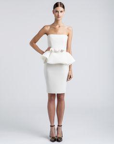 Look For Less Jennifer Lopezs New York City I Parker Premiere Lanvin Ivory Strapless Peplum Dress Little Vegas Wedding
