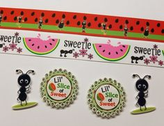 2 Yards 4 Resin Mixed lot Picnic/Watermelon/Ants Inspired Ribbon and Resins #Unbranded