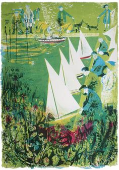 Boating Lake Lithograph by Robert Tavener, 1954