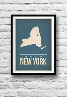 New York state poster New York print Empire State by Redpostbox, £8.00