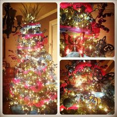 I can't believe this magnificent tree is in my house! You cant tell in the photo, but everything is solid glitter! My sister should be a professional tree glamour-izer ;)