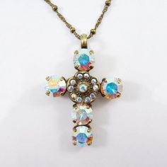 Crystal AB Swarovski cross Bridal Necklace pendant by TIMATIBO