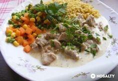Pulyka zöldfűszeres-tejszínes szósszal Grains, Food And Drink, Rice, Beef, Chicken, Meat, Seeds, Laughter, Jim Rice