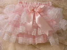 PINK SATIN  DUPION & LACE WITH TULLE FRILLY KNICKERS.   So right for naughty boys!