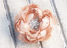 Gorgeous peach hair peony clip - perfect for bridesmaids hair