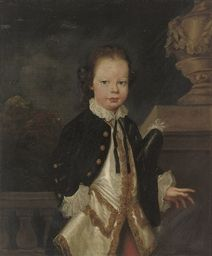 Portrait of a young boy, three-quarter-length, in a blue coat and white silk waistcoat with gold frogging, a tricorn under his left arm, by an urn, a landscape beyond. English School, 18th century
