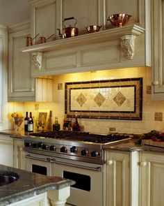 over an oven range. A shelf with corbels will create a focal point over your oven range. Match the type of corbel you use to the current style of your kitchen. Or, give your kitchen a 'kick' of fancy with a more ornate corbel in a simple kitchen.