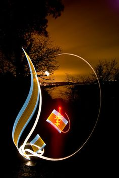 Arabic calligraphy with light and speed