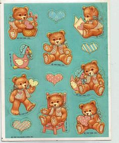 Stickers Vintage 1 sheet Hallmark LOVING TEDDY BEARS & HEARTS -1987  A1-29 #Hallmark #Stickers