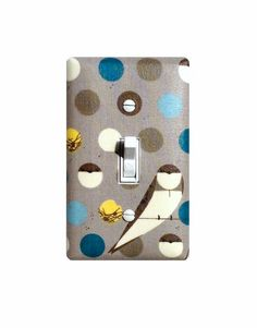 Charley Harper Light Switch Cover / Bank Swallow / Gray Aqua Yellow Teal /  Midcentury Modern Kitchen Office / Organic Birch Fabrics