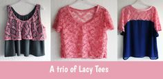 Lacy Trio of Tees - a make for White Tree Fabrics Leaf Prints, Needle And Thread, Tees, Shirts, Fabrics, Vogue, Patterns, Lace, Blog