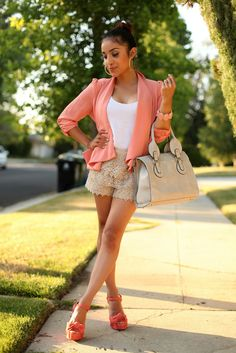 I love Dulcecandy's outfit! Coral blazer and lace shorts ♥ Cute Winter Outfits, Summer Outfits Women, Short Outfits, Classy Outfits, Cute Outfits, Outfit Summer, Dress Summer, Short Dresses, Girl Outfits