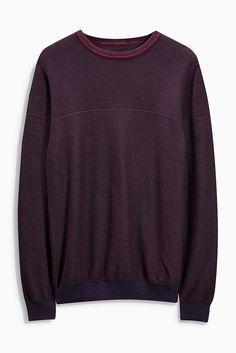 Pullover mit Rundhalsausschnitt und Strukturstreifen  100% Baumwolle.  ...