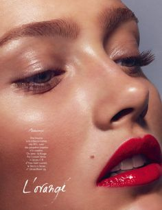 Dewy skin + glossy lips (Karmen Pedaru for Elle France March 2014 by Miguel Reveriego)