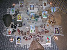 Tarot Cards and Crystals work together.   Here's a list of each Major Arcana card and a crystal that might be associated with it.   Of course there are many other possibilities. The crystal world is endless! And new crystals are constantly being discovered. http://www.tarotteachings.com/tarot-and-crystal-meanings.html