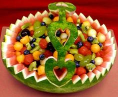 Fruit basket - Carved from a watermelon rind.