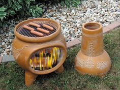 Chiminea Has Two Pieces. Makes A Great Outdoor Barbecue.