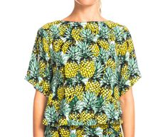 Summer Women's Pineapple Crop Tee - Black/Yellow/Green