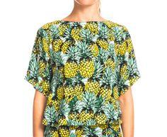 Summer Women's Pineapple Crop Tee - Black/Yellow/Green