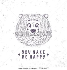 Beautiful cartoon doodle cute bear in sketch style. Vector illustration - stock vector