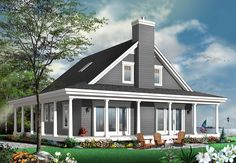 A big, beautiful porch wraps around this neat and tidy Country house plan.The main living space is all one big area with views that stretch from the kitchen through the dining room and into the living room.The fireplace warms the entire area.Homeowners get the comfort and ease of a first floor master suite with the laundry room mere steps away.Three bedrooms on the upper floor share two bathrooms and the front-facing bedroom gets a large walk-in closet.