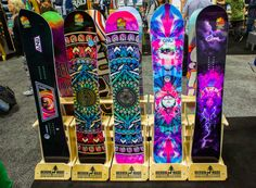 GNU 2017 Ladies Snowboard range! Amazing graphics / colours. Jamie Anderson board in there too.
