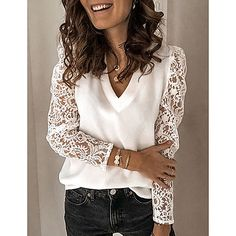 White Long Sleeve, Long Sleeve Tops, Lace Tops, Chiffon Tops, Lace Chiffon, White Lace Blouse, Lace Sleeves, Short Sleeves, Blouses For Women