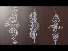 Rangoli Side Designs, Simple Rangoli Border Designs, Rangoli Designs Latest, Rangoli Borders, Free Hand Rangoli Design, Small Rangoli Design, Rangoli Patterns, Rangoli Ideas, Rangoli Designs With Dots