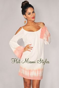 Hmmmm.....grow my hair long enough to pull off this look, or keep it in my awesome A-line.....decisions, decisions....Ivory Peach Tye-Dye Beach Dress