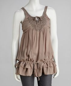 Take a look at this Taupe Beaded Lace Drop-Waist Tank by Simply Irresistible on #zulily today!