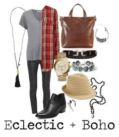 """Eclectic + Boho Look"" by mars1128 on Polyvore featuring Cocobelle, J Brand, Helmut Lang, Denim & Supply by Ralph Lauren, Caslon, John Hardy, Steve Madden, Bling Jewelry, The Bridge and River Island"