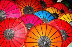 Laos - Luang Prabang Market Parasols