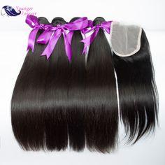 브라질 스트레이트 헤어 폐쇄 7a 브라질 처녀 머리 lace closure 3/4 번들 인간의 머리 폐쇄 엮어 판매