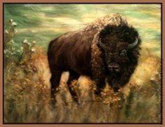Картина из шерсти `Бизон в степи`. Картина выложена сухой овечьей шерстью на ткань под стекло. Картины шерстью очень популярны, и не зря! От них веет уютом и душевным теплом. Техника это новая, 'молодая', и вы сможете удивить своих друзей и родных таким выбором.