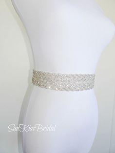 MONIQUE Double Braided Crystal Bridal Sash,Beaded Sash,Wedding Belt
