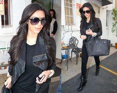 Kim Kardashian wearing Balmain Black Laced Ankle-Boots With Zip