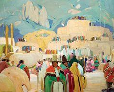 Victor Higgins, Pueblo of Taos (before 1927), oil, 44 x 54.