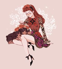 persephone and cerberus and a bunch of flowers i did for a step by step for my patreon✨ (valentino inspired dress)