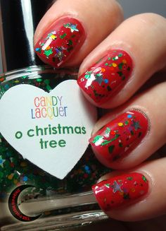 OPI Red and Candy Lacquer O Christmas Tree. Nails.