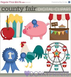 HALF OFF - County Fair Clip Art -Personal and Commercial Use- blue ribbon, ferris wheel, pie stand, clipart