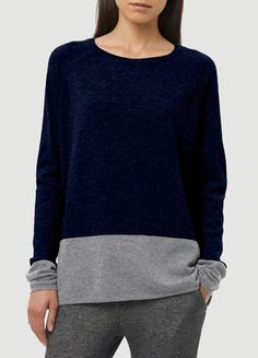 VINCE Colorblock Luxe Cashmere Sweater in exclusive Coastal/ Heather Platinum